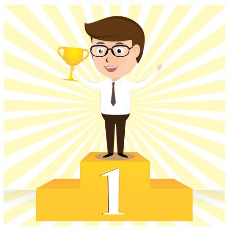 triumphant: The Winner Businessman proudly standing cartoon vector illustration Illustration