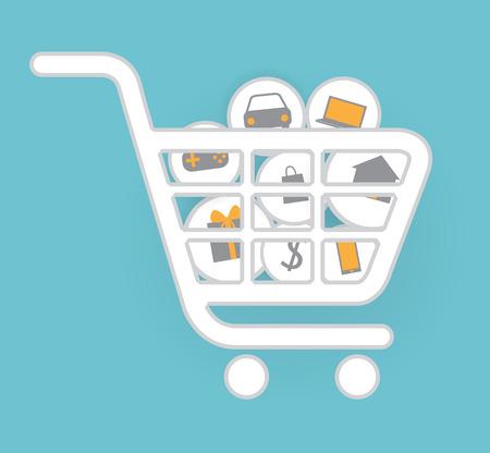 Shopping Online, E-commerce, white cart, Vector illustration