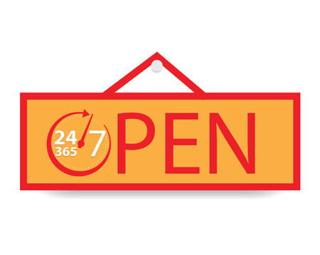Open 24 hours a day and 7 days and 365 day, Vector illustration
