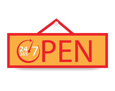 Open 24 uur per dag en 7 dagen en 365 dagen, vectorillustratie Stock Illustratie