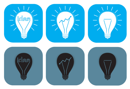 Open and turned off light bulb idea icon vector