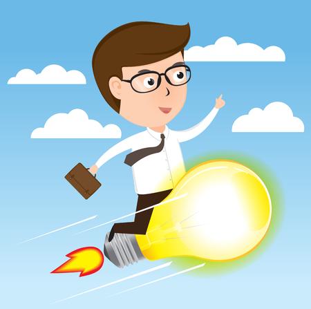 Businessman on light bulb rocket flying to success, cartoon business concept vector Illustration