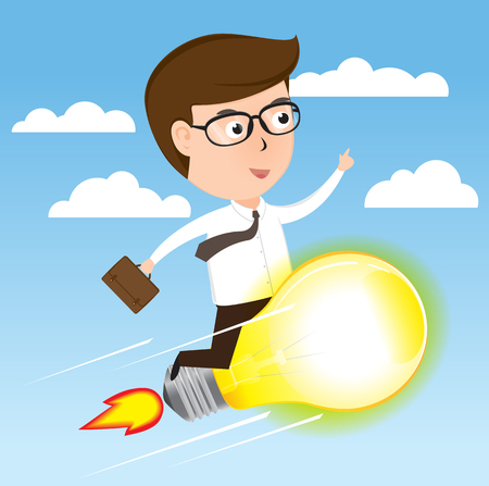 Businessman on light bulb rocket flying to success, cartoon business concept vector Illustration