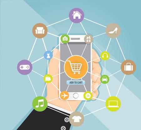 e shop: Man holding smartphone with basket on line shop, e-commerce concept vector