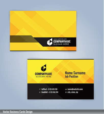 Yellow and Black modern business card template, Illustration Vector 10