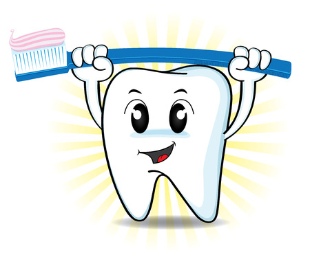 Cute cartoon tooth lifting a toothbrush