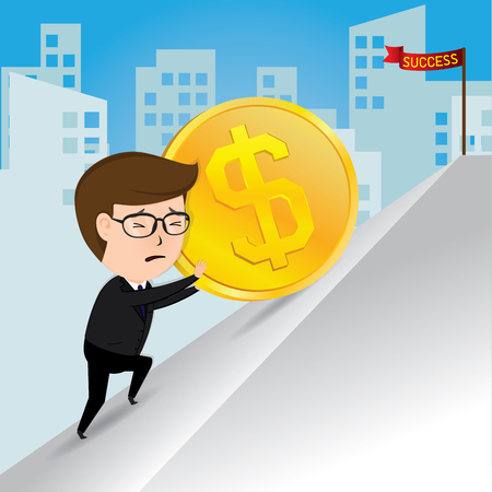 conquering adversity: Businessman pushing a gold coins uphill, business concept, vector