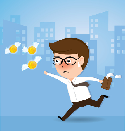 Businessman chase money is flying away, business concept, vector 10