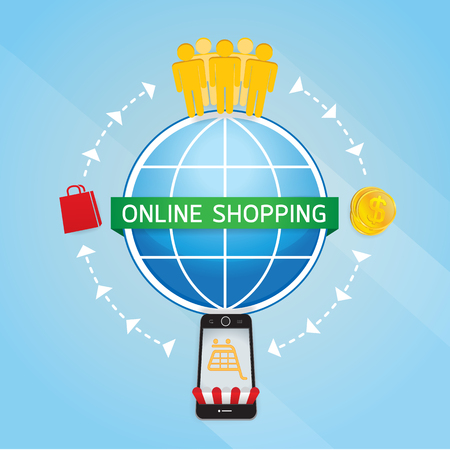 Internet online shopping hand with Smartphone, e-commerce concept vector