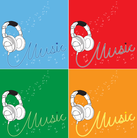 4 Set of music background (White Headphones). Illustration