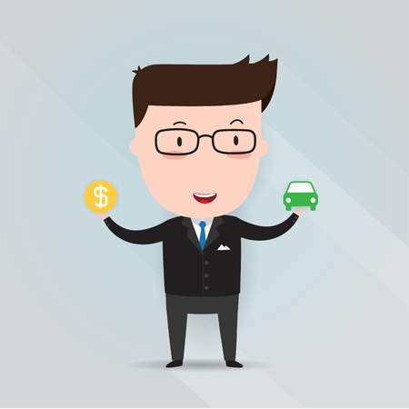 owner money: Businessman holding car icon in one hand and money icon, dollar sign, business concept, vector 10