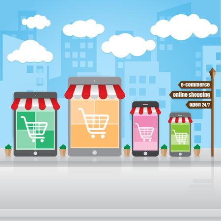 Shopping online, e-commerce on smartphone market, Vector illustration