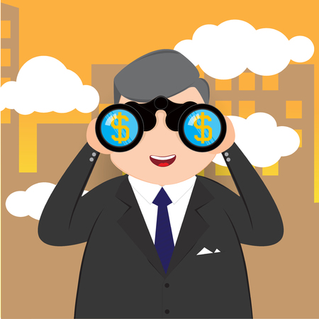 binoculars view: Businessman with binoculars looking for a dollar sign and City background, Business concept, vector 10