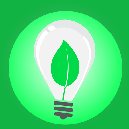 Leaves growing in light blub icon. vectors 10
