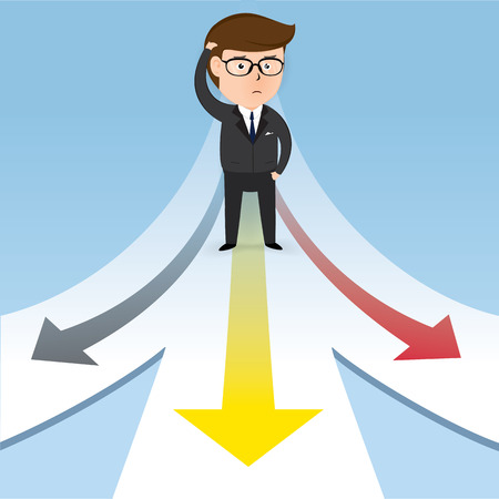 Businessman on a road with three arrow, Business concept, Illustration Vector