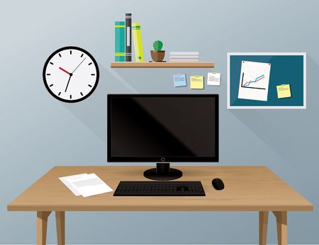 Computer desk, workplace cartoon, business concept, vector