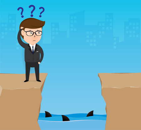 financial cliff: Businessman standing on the cliff. Business concept, Illustration Vector