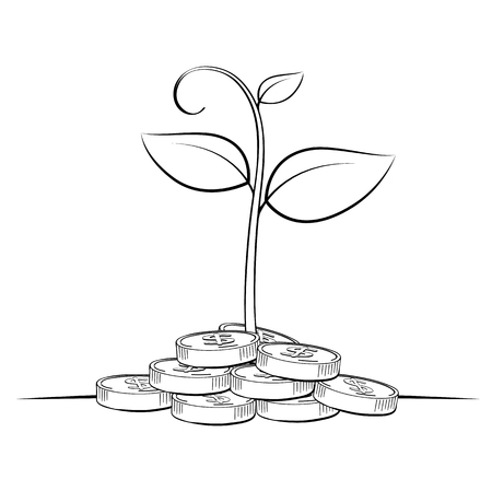 Tree money coin line drawing, Business concept, Illustration Vector eps10