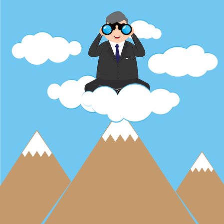 laptop outside: Businessman with binoculars on a cloud, business concept vector