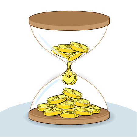 Hourglass with gold coins line drawing, business concept vector Illustration
