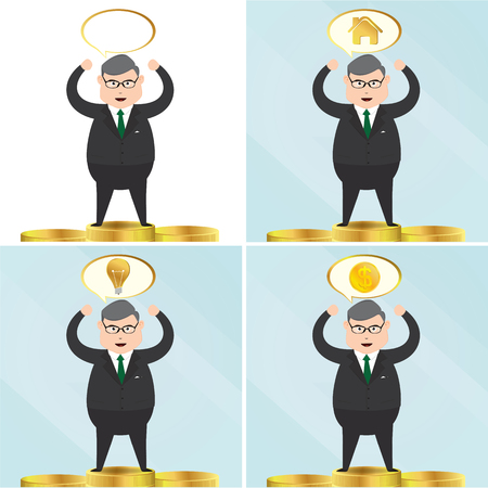 Set of senior businessman characters. business concept vector Illustration