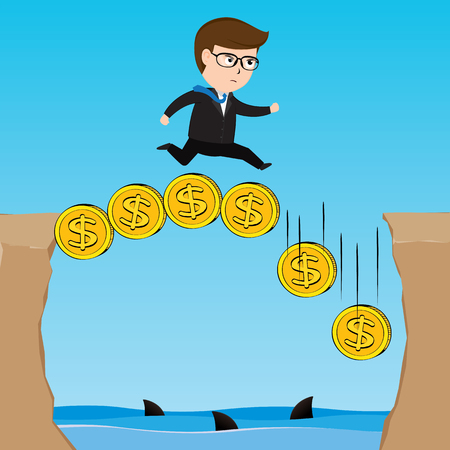 Businessman walking on gold coin precipice in mountains. Business concept, Illustration Vector eps10 矢量图像
