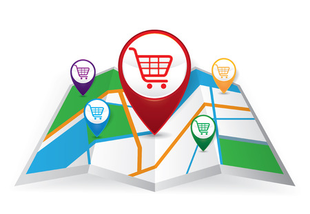 information medium: Pin Pointer with shopping cart symbol on Map icon, e-commerce concept vector