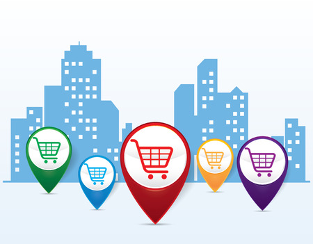 shopping cart symbol on Pin Pointer with city silhouette, e-commerce concept vector Illustration