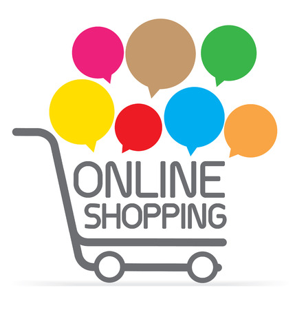 Online shopping on cart symbol with speech bubble, e-commerce concept vector