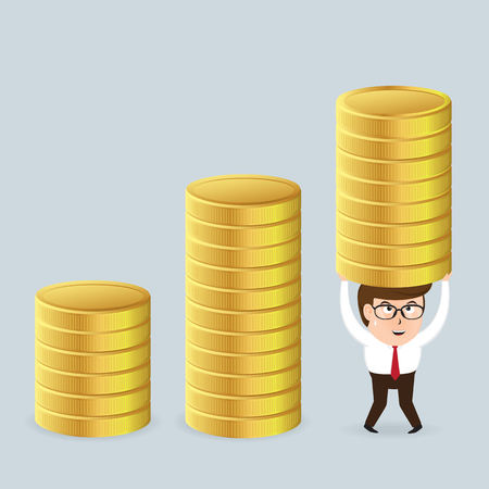 Businessman carrying gold coins, business concept, vector 10 Illustration
