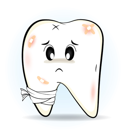 Cute cartoon Decay tooth or is injury, vector 10