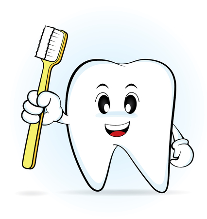 Cartoon character tooth holding a toothbrush, vector 10