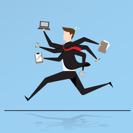 Business characters. Running businessman working with six hands, very busy business concept.