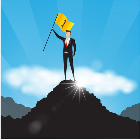 Business characters. Businessman holds a golden flag on top of a mountain. number one. Successful businessman