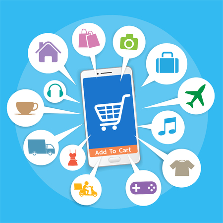 e shop: Smartphone with basket online shop, Online Shopping icon, e-commerce concept vector Illustration