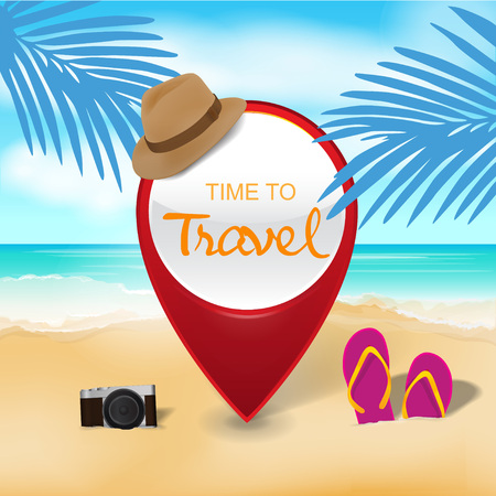 Red Pin on Beach Background, Time To Travel, Vector