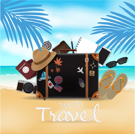 Travel Bag on Beach Background, Time To Travel, Vector