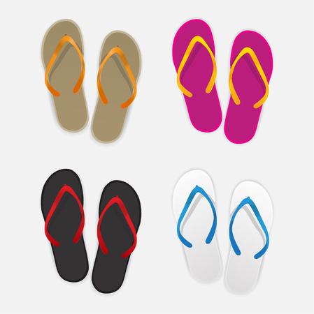 clutch bag: Sandal color set, Vector Illustration