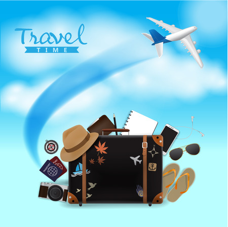 Travel Bag on Blue Sky Background, Travel Time, Vector