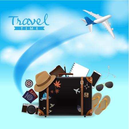 Travel Bag on Blue Sky Background, Travel Time, Vector