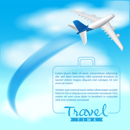 Airplane on Blue Sky Background, Travel Time, Vector
