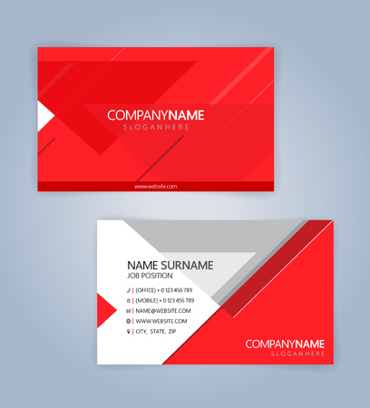 Red and White modern business card template, Illustration Vector 10