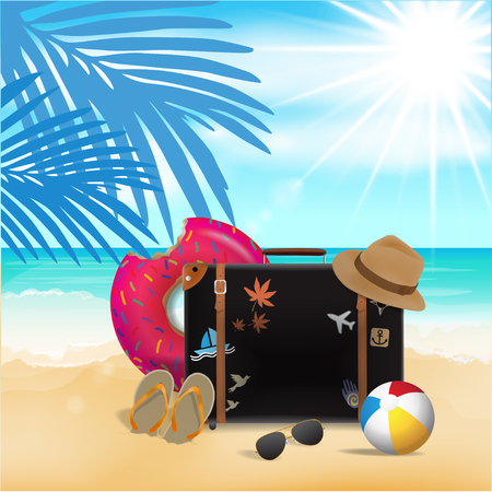 Travel Bag on Beach Background, Travel Time, Vector
