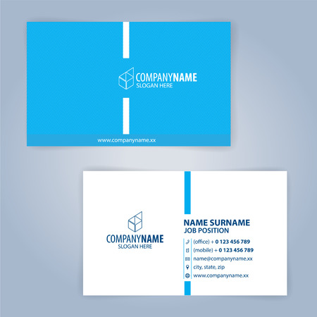 Blue and white modern business card template, Illustration Vector 10