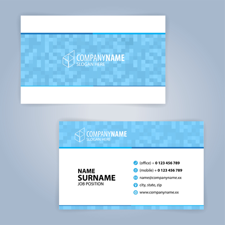 Business card template. Blue and white, Illustration Vector10
