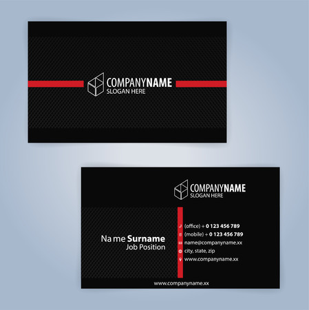 Business card template. Red and Black, Illustration Vector10