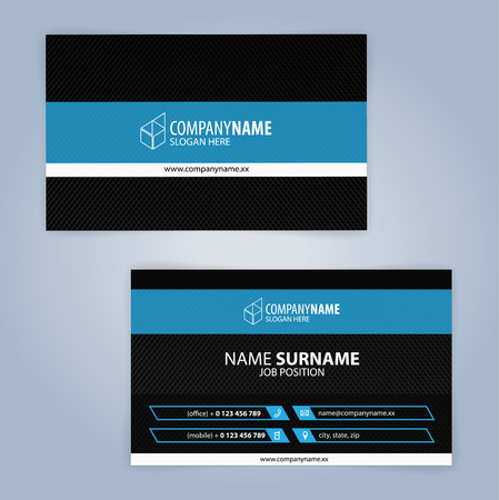 Business card template. Blue and Black, Illustration Vector10