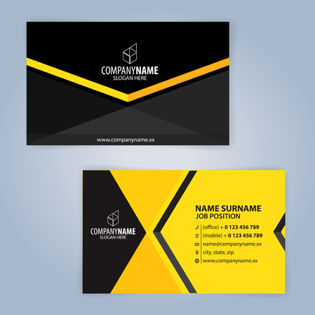 Business card template. Yellow and Black, Illustration Vector10