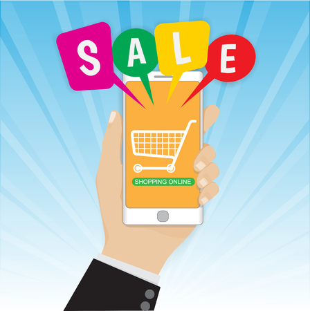 Smartphone with hand and Sale bubble speeches, ecommerce concept vector