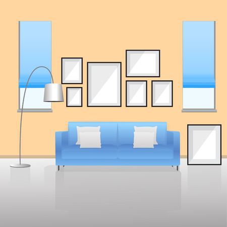 Furniture Interior. Living room with sofa. Vector illustration